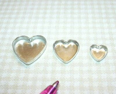 Miniature Tiny Heart Shaped Cake Pans (3) DOLLHOUSE