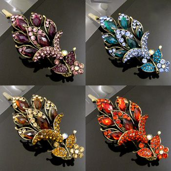 , 1 pc antiqued rhinestone flower hair clamp clip