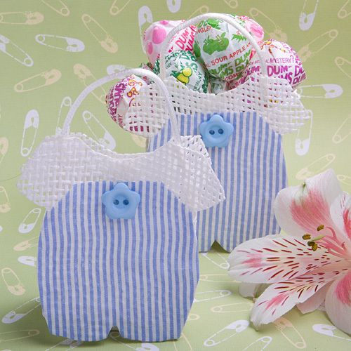 60) Mesh Blue Baby Jumper Favor Candy Bag Shower 1st Birthday Clothes